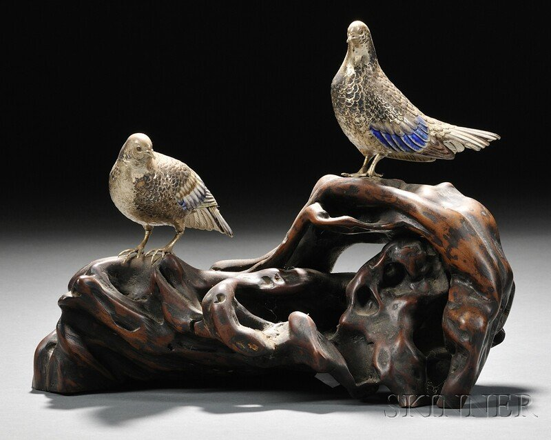 16: Enameled Birds, Japan, 19th century, two bronze bir