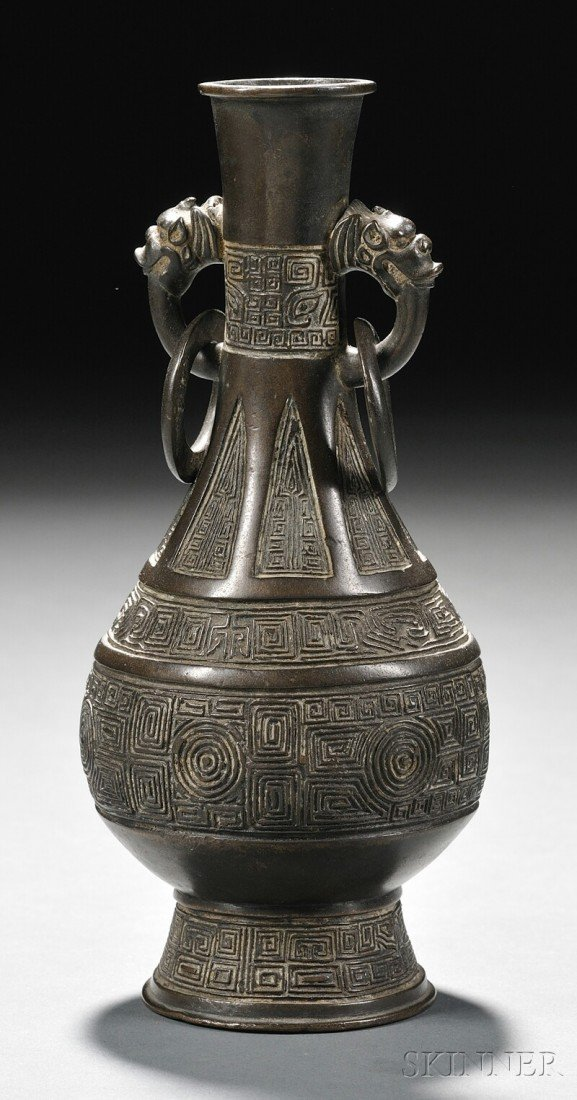 18: Bronze Vase, China, pear shaped form with key-fret