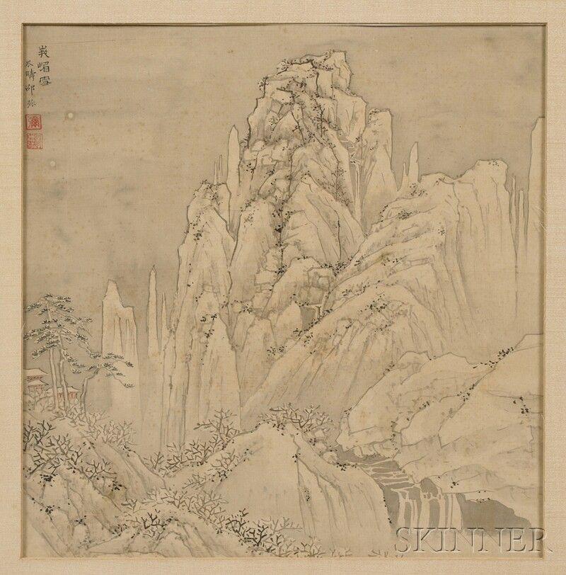 798: Album Leaf with Landscape, Japan, 20th century, in