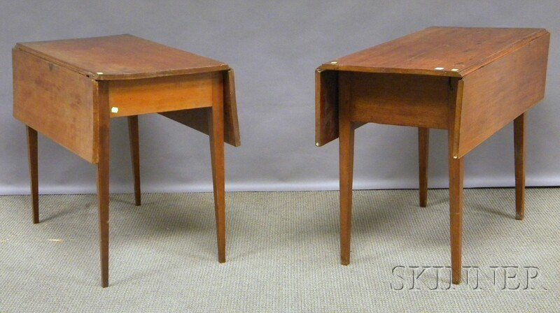 1006: Two Federal Drop-leaf Tables, walnut and one mapl