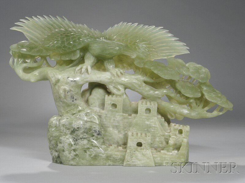 1008: Carved Green Hardstone Eagle on a Branch over the