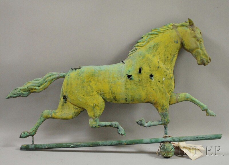 1009: Patinated Molded Copper Running Horse Weather Van