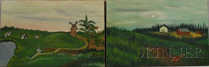 1010: Two 20th Century American School Oil on Canvas Pr
