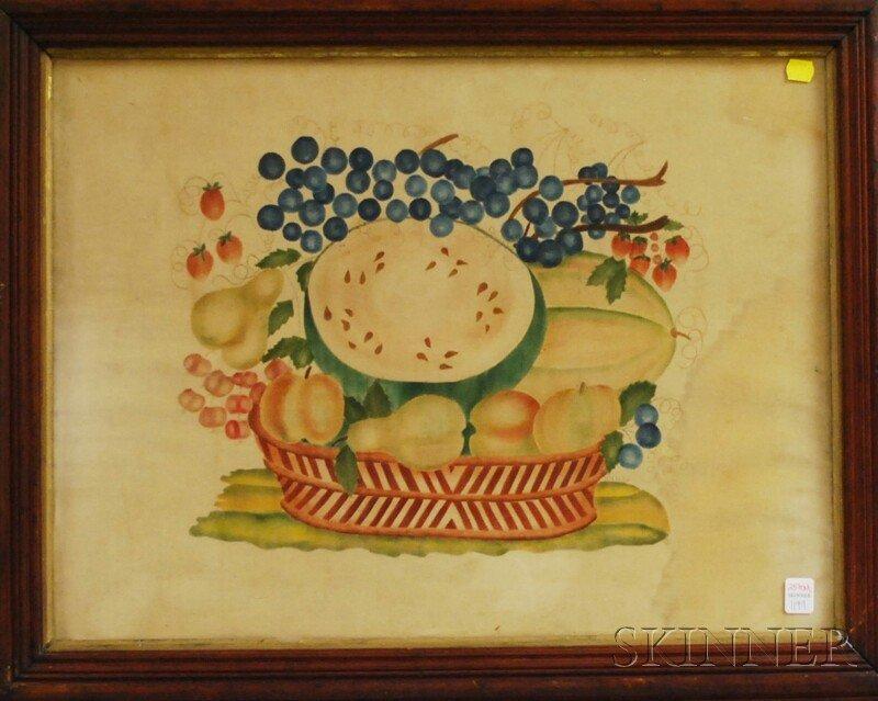 1011: Framed 19th Century Painted Theorem on Velvet, in