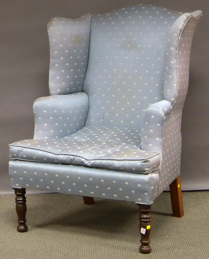 1013: Late Federal Upholstered Mahogany Wing Chair.