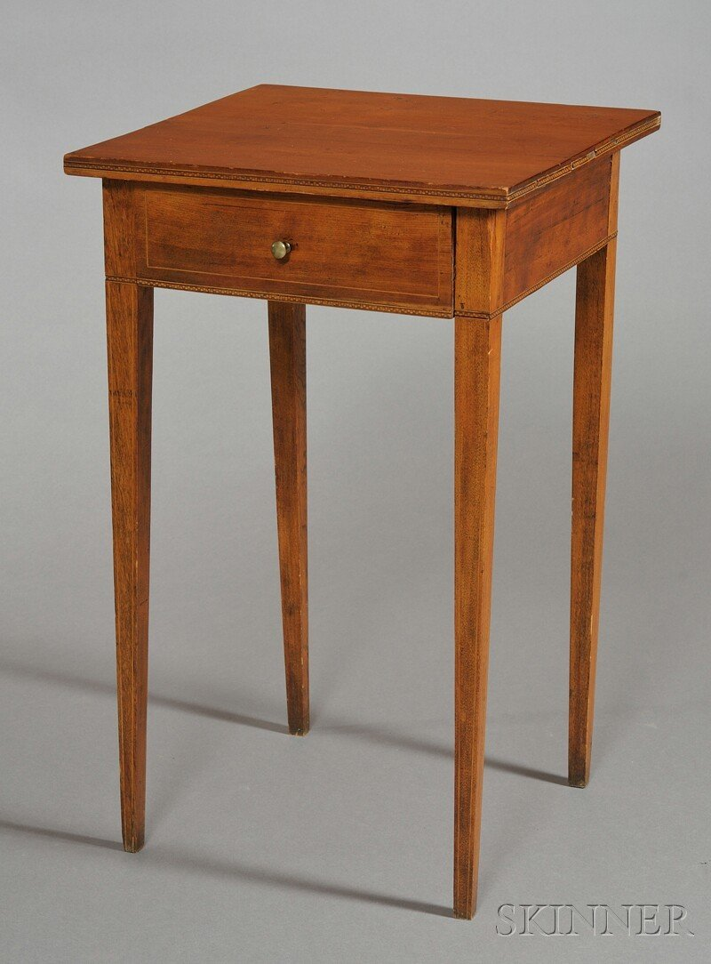 1014: Federal-style Inlaid Cherry and Birch One-drawer