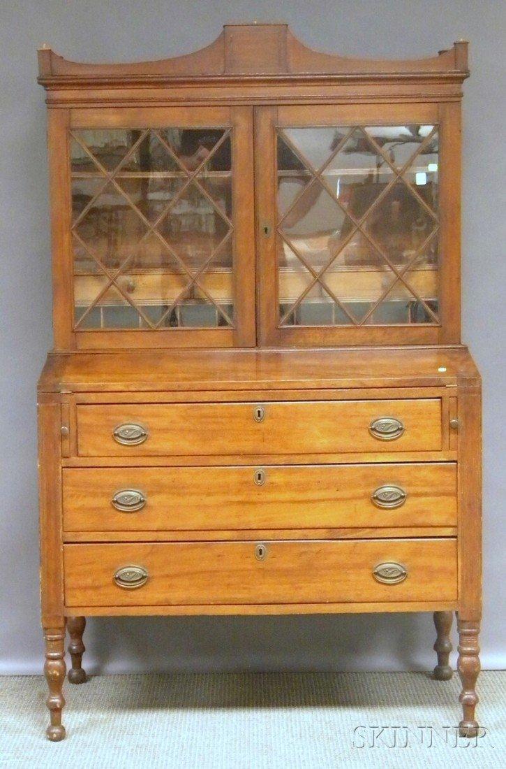 1015: Federal Glazed Inlaid Birch Writing Desk/Bookcase