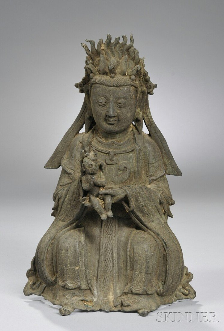 1024: Asian Bronze Seated Female Figure with Child, ht.