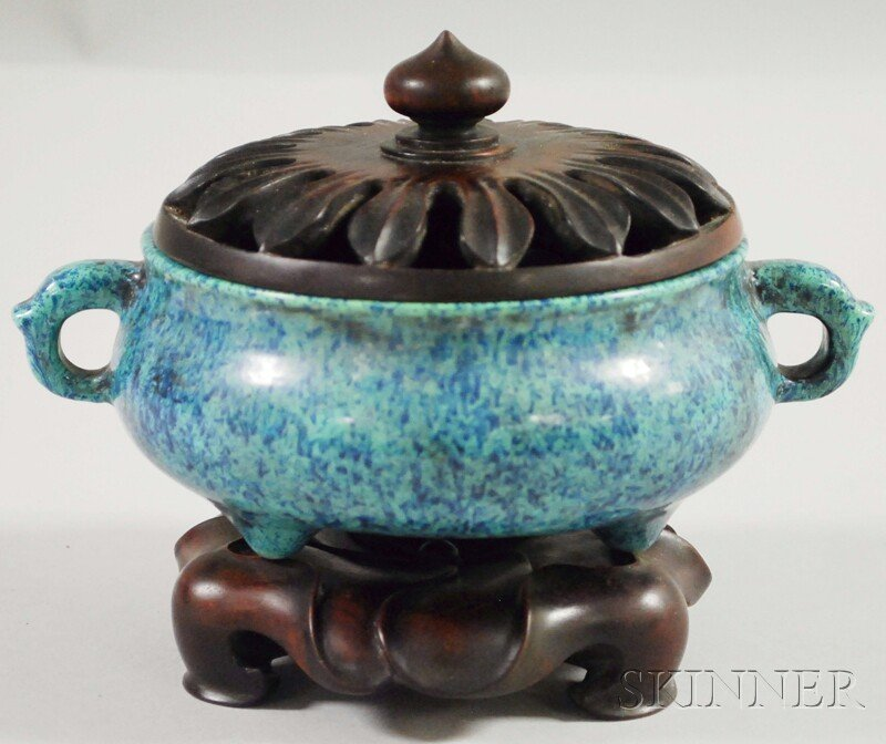 1108: Chinese Glazed Porcelain Censer with Carved Hardw