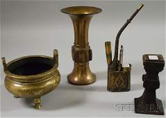 1373 Four Asian Bronze and Brass Items a footed cense