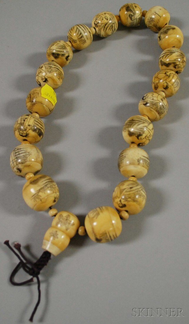 1374: Japanese Erotic Etched Ivory Beads, approx. lg. 2