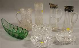 1442: Eight Assorted Cut Art Glass Table Items, three b