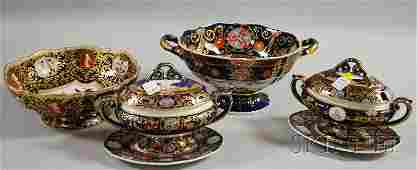 1586: Six English Decorated Ironstone Serving Pieces, a