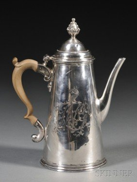 1: George II Silver Coffeepot, London, 1733, Benjamin G