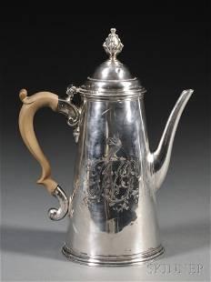 George II Silver Coffeepot, London, 1733, Benjamin G