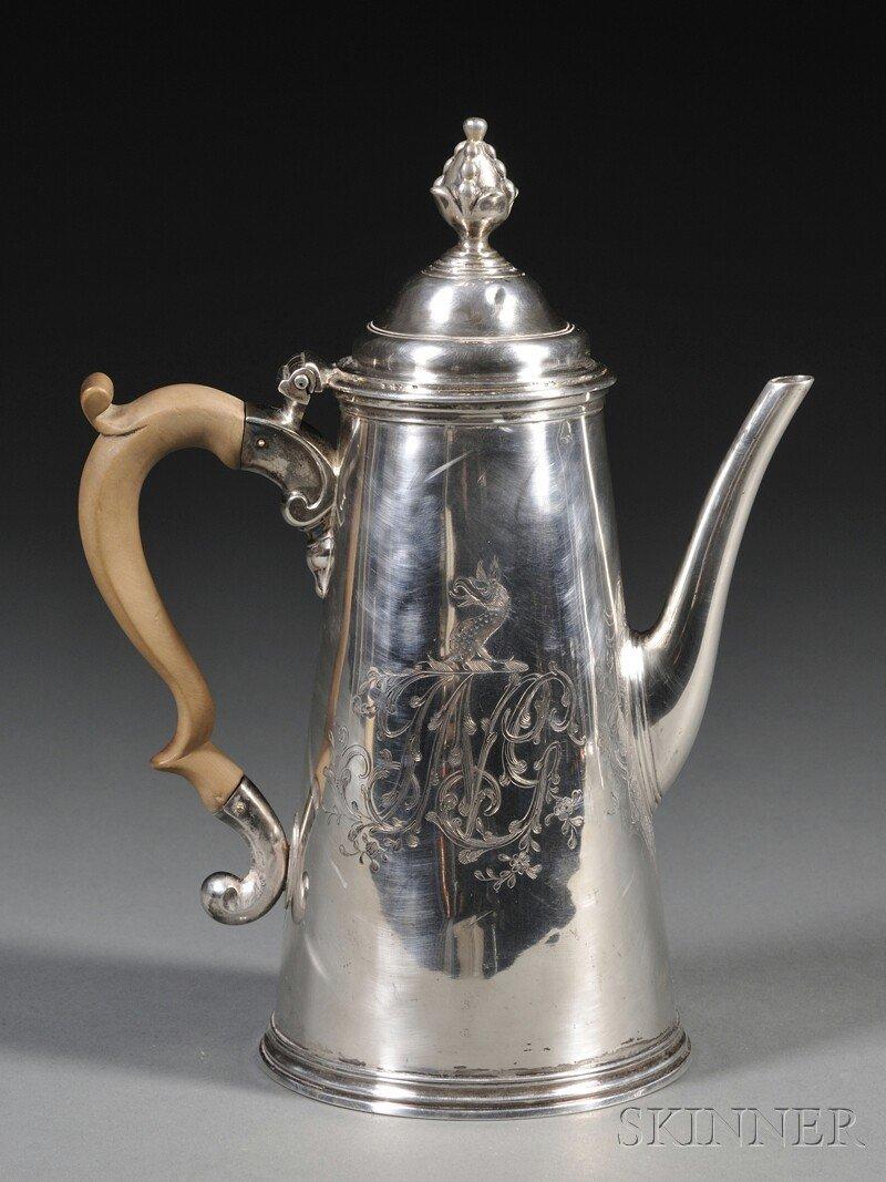 1: George II Silver Coffeepot, London, 1733, Benjamin G
