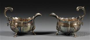 Pair of George II Silver Sauce Boats, London, 1739,