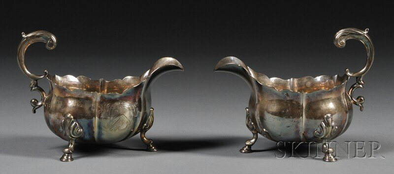 2: Pair of George II Silver Sauce Boats, London, 1739,