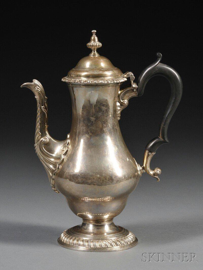 8: George III Silver Coffeepot, London, 1763, maker's m