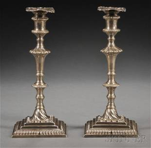 Assembled Pair of George III Silver Candlesticks, Lo