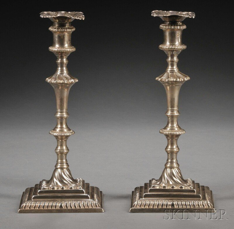 9: Assembled Pair of George III Silver Candlesticks, Lo
