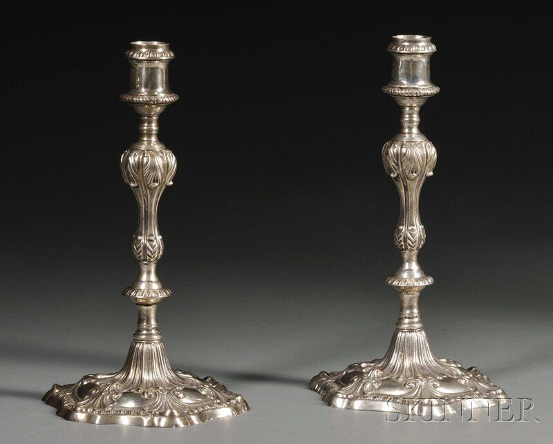 15: Pair of George III Silver Candlesticks, London, 176