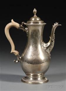 George III Silver Coffeepot, London, 1772, Charles