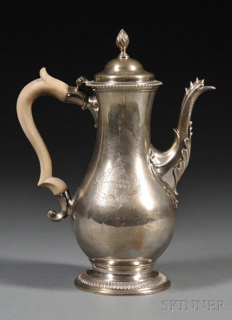 17: George III Silver Coffeepot, London, 1772, Charles