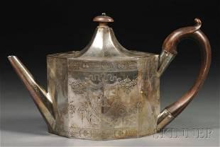 George III Silver Teapot, London, 1789, Hester Bate