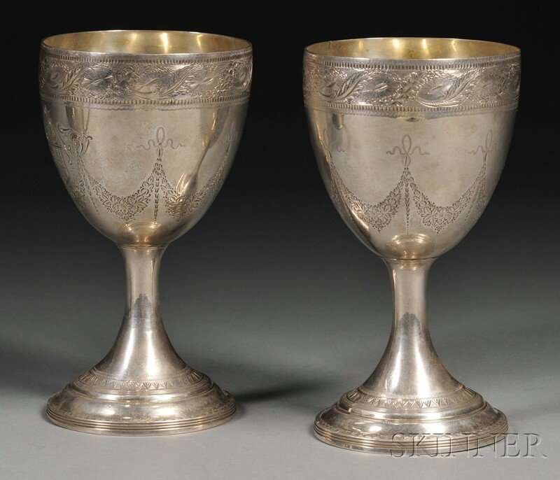 22: Pair of George III Silver Goblets, London, 1792, ma