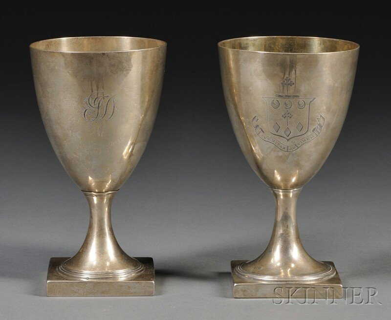 24: Near Pair of George III Silver Goblets, London, 179