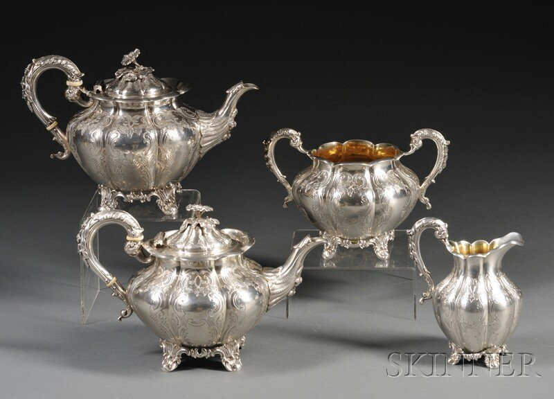 48: Four-piece Victorian Silver Tea Service, London, 18