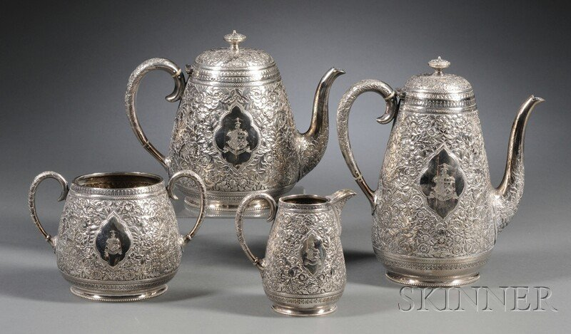 51: Four-piece Fenton Bros. Silver Plate Tea and Coffee