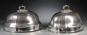 Near Pair Of English Silver Plate Meat Domes, Londo