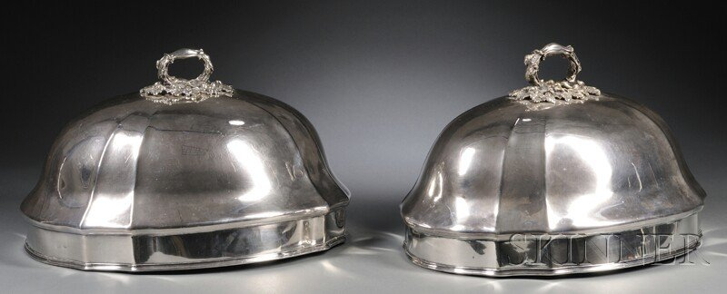 52: Near Pair of English Silver Plate Meat Domes, Londo