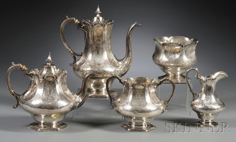 53: Five-piece Assembled Victorian Acid-etched Silver T