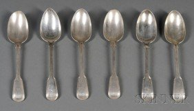 Six English Threaded Silver Serving Spoons, London,