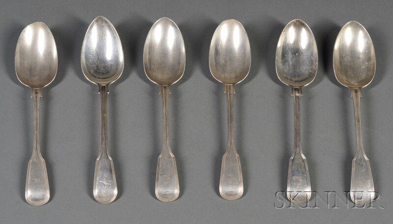 55: Six English Threaded Silver Serving Spoons, London,