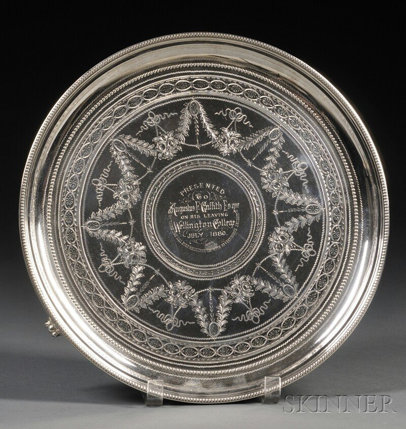 58: Victorian Silver Presentation Salver, London, 1879,