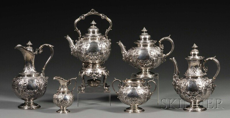 59: Six-piece Victorian Silver Tea and Coffee Service,
