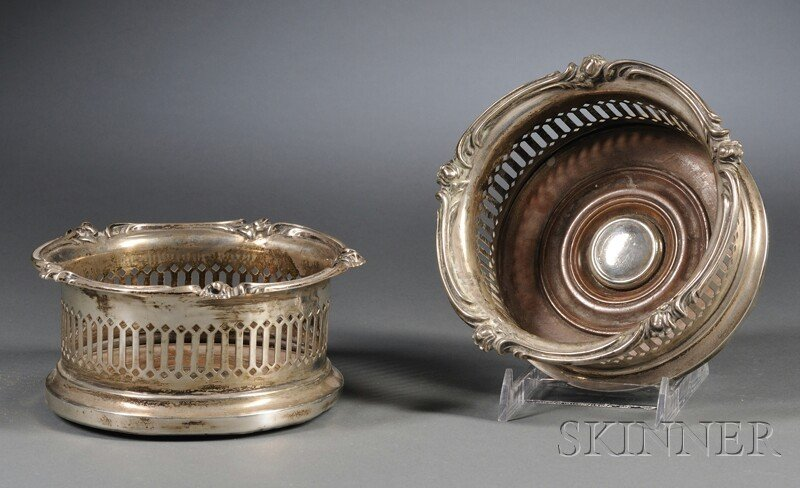 60: Pair of Edwardian Reticulated Silver Wine Coasters,