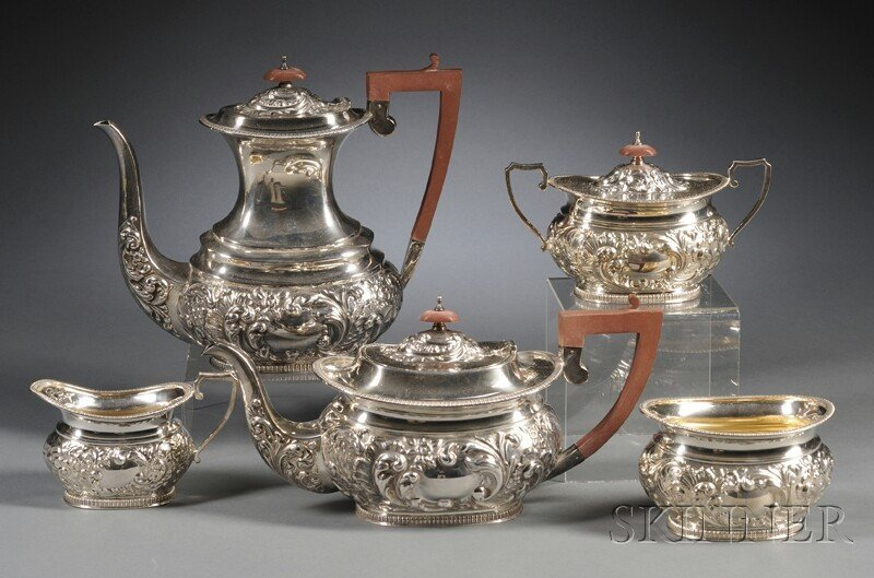 66: Modern English Five-piece Silver Tea and Coffee Ser