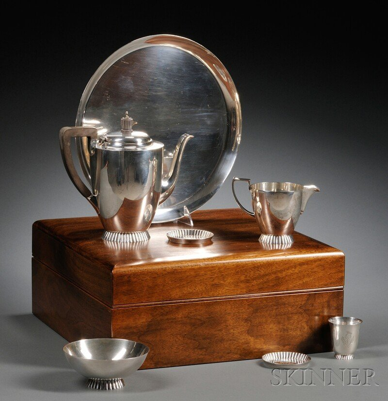 67: Elizabeth II Modernist Silver Tea Service, London,