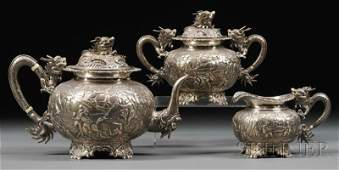 175 Threepiece Chinese Export Silver Tea Set Wang Hi