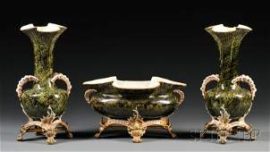502 Threepiece Bronzemounted Majolica Mantel Garnitu