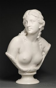 505: Thomas Ball (American, 1819-1911) Nude Bust of a Y