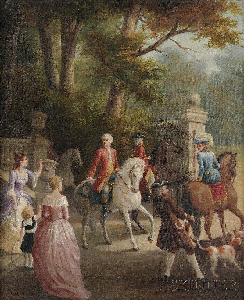 573: Continental School, 19th Century, Equestrian Scene