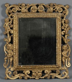 850: Giltwood Mirror, Continental, 18th century, the re