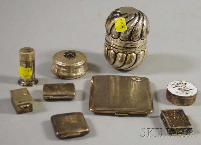 5: Nine Small Silver and Silver Plate Boxes and Cases,