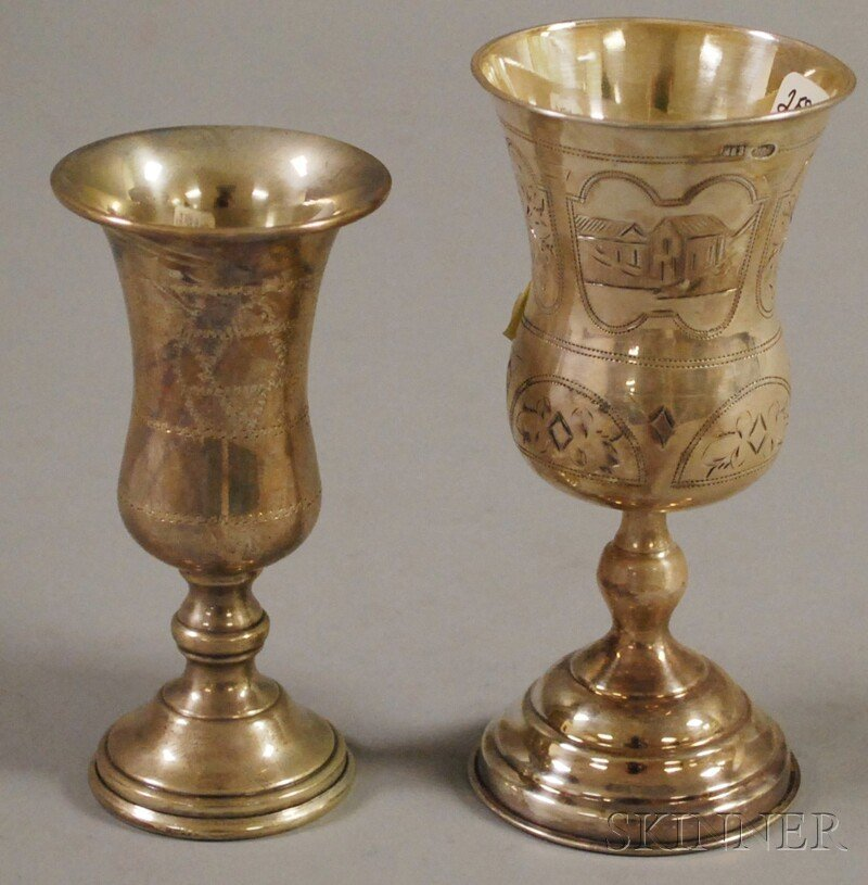 22: Two Silver Stemmed Kiddush Cups, one America, sterl
